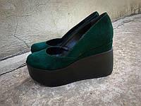 Замшевые женские туфли Valery на платформе зеленые