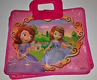 Сумка-портфель детская А4, пластиковая / Sofia роз.