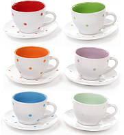 """Чайный набор """"Цветной горох"""" 6 чашек 230мл и 6 блюдец, керамика"""