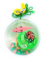 Шарик силиконовый с рыбкой/бабочкой и лентами 6-7, Д-6,5 см