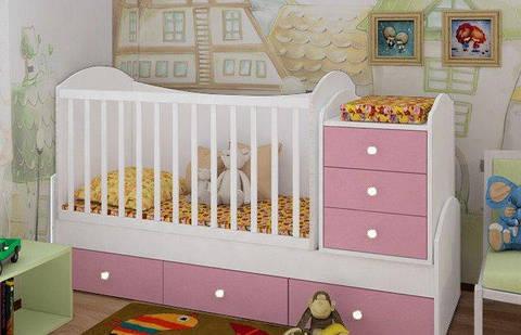 """Детская кроватка-трансформер """"Dream"""" (белый, розовая сакура)"""