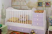 """Детская кроватка-трансформер """"Dream"""" (белый, лаванда)"""