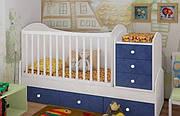 """Детская кроватка-трансформер """"Dream"""" (белый, голубой, sky)"""