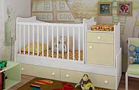 """Детская кроватка-трансформер """"Classic""""  (белый, ваниль)"""