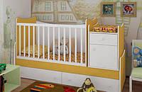 """Детская кроватка-трансформер """"Classic"""" (желтый, белый)"""