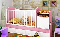 """Детская кроватка-трансформер """"Light"""" (розовая сакура)"""