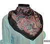 Легкий черно-розовый женский шелковый платок