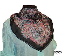 Купить легкий черно-розовый женский шелковый платок