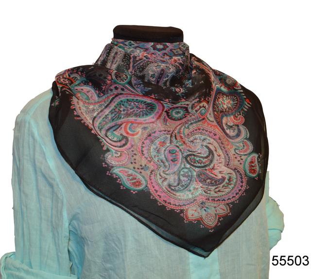 Купить легкий черно-розовый женский шелковый платок 1
