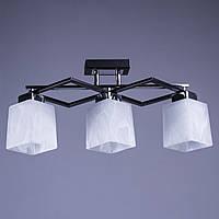 Люстра на 3 лампочки для низких потолков (черный). P3-37325A/3/BK+WT