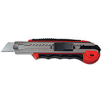 Нож, 18 мм, выдвижное лезвие, метал. направляющая, обрезиненная ручка + 5 лезвий MTX MASTER 789219