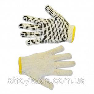 Перчатки текстильные с вкраплениями,белые, L,Technics,16-002,Киев.