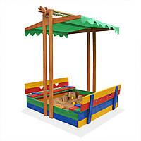 Песочница деревянная цветная со скамейками и крышей