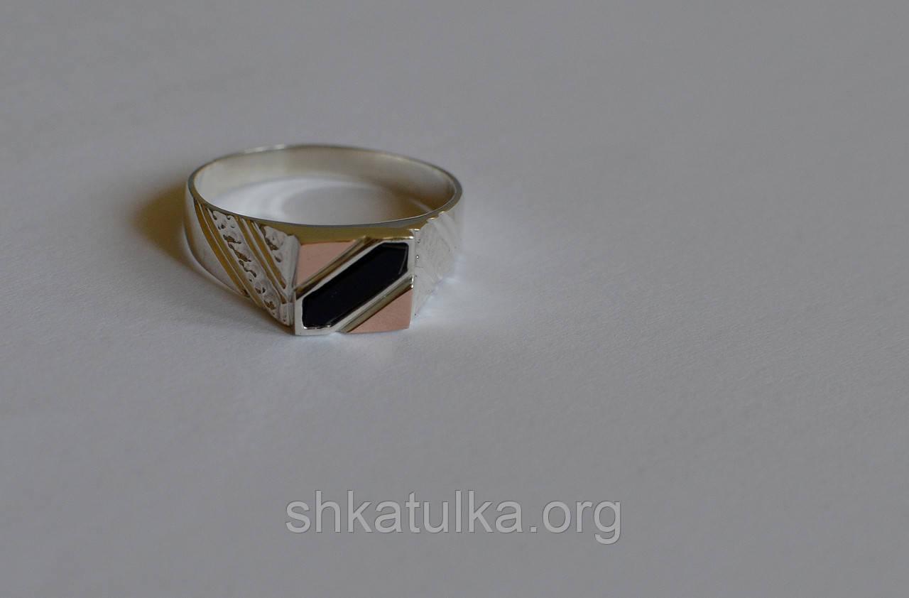 Мужская печатка из серебра и золота №М-2н