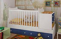 """Детская кроватка-трансформер """"Sky"""" (белый,голубой,sky)"""