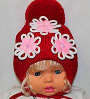 Вязаная шапочка для девочек. Подклад: флис. 2-3 года