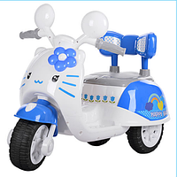 Электромобиль мотоцикл детский на аккумуляторе Hello Kitty 99118 A-4, бело-голубой