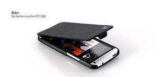 HOCO Duke flip leather case for HTC One, black (HT-L006)