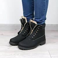Ботильоны ботинки женские Balmain Black Мех Зима, зимняя обувь