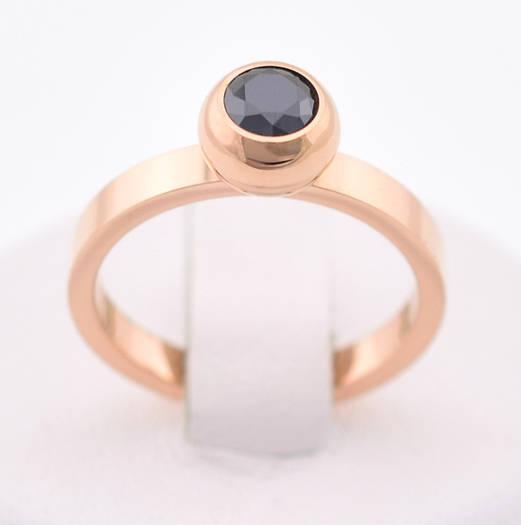 """Кольцо """"Оникс"""", код 54718, размер 20, чёрный камень, позолота РО"""