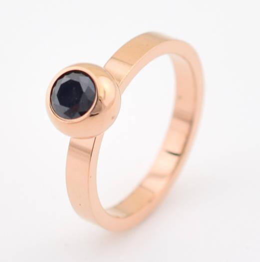 """Кольцо """"Оникс"""", код 54718, размер 17, чёрный камень, позолота РО"""