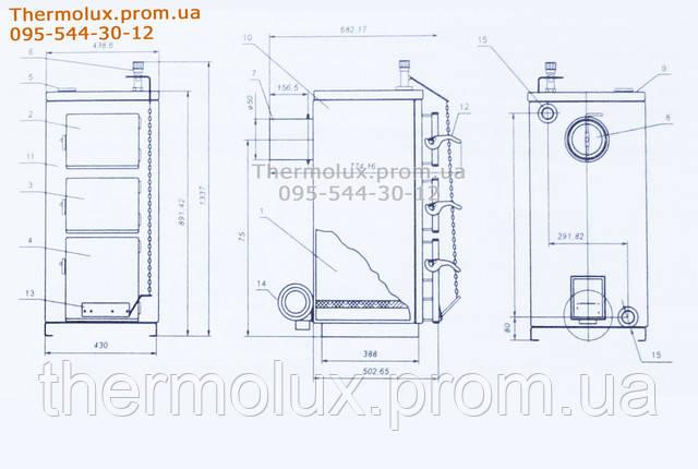 Конструкция (разрез) котлов Vector ТТК - 20 кВт