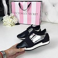 40 размер! Стильные женские кроссовки черные с серебром 2017