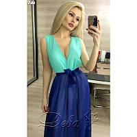 Платье в пол из шифона №183 Размер:M, L - (44-46) двойной размер; Цвет:верх мята низ электрик