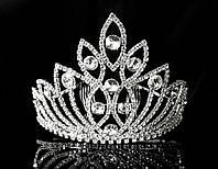 Диадема корона на металлическом обруче, высота 10 см, серебристая