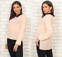 Женская модная блузка - туника с  воротником  -  кожзам ОИ281