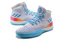 Мужские баскетбольные кроссовки Adidas D Rose 8 (White/Light Blue/Rainbow)