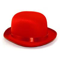 Шляпа Котелок атласный (красный)