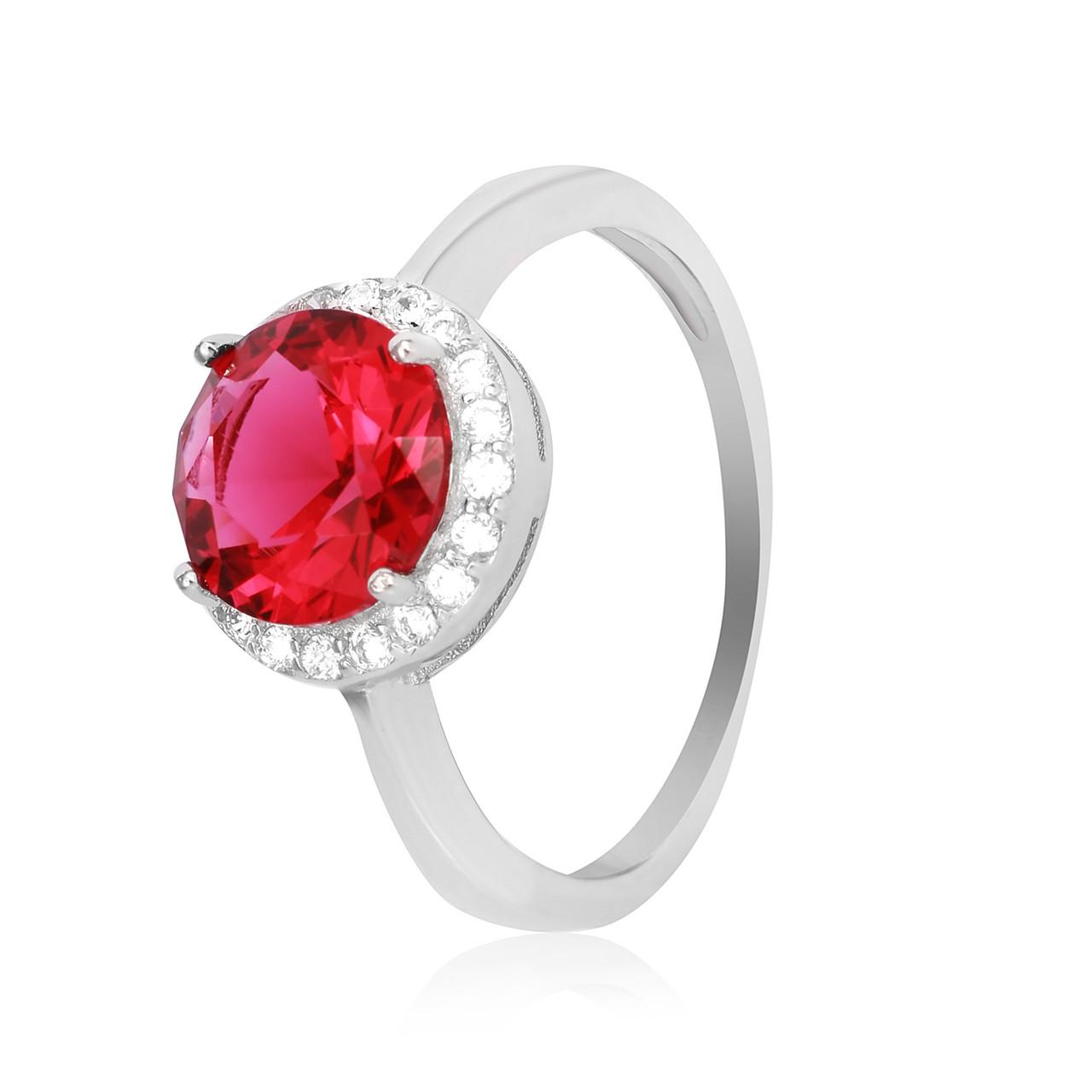 """Серебряное кольцо с имитацией рубина """"408"""""""