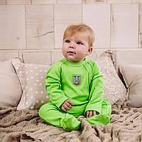 Детский комбинезон для новорожденных зелёный