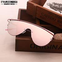 Женские  стильные прямые солнцезащитные очки розовые зеркальные