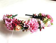 Обруч веночек ручной работы, нежные хризантемы