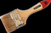"""Кисть флейцевая тип Стандарт натуральный ворс деревянная ручка 2"""" HTtools (кисти малярные)"""