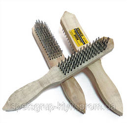 Щетка металлическая 5 ряды с деревянной ручкой HTtools