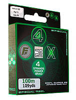 Шнур Lineaeffe FF 4X Super PE Braid  Moss Green  100м  0.14мм  FishTest-11.00кг, фото 1