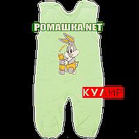 Ползунки высокие с застежкой на плечах р. 56 ткань КУЛИР 100% тонкий хлопок ТМ Алекс 3142 Зеленый Б