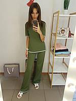 Костюм женский стильный футболка и брюки Френч разные цвета Df606