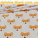Бязь с мордочками лисичек оранжевого цвета (№279а), фото 2