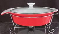 Мармит керамический овальный (красный) 2 л  Krauff 21-258-001