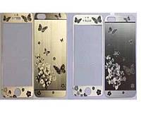 Защитное стекло с рисунком Butterfly iPhone 6 plus/6s plus silver