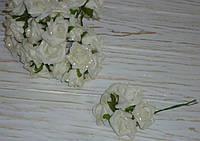 Бутоньерка бутон розы белой 5 шт латекс , фото 1