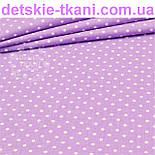 Ткань с горошком 3 мм на сиреневом фоне (№199а), фото 4