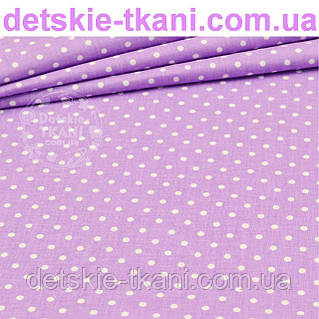 Ткань с горошком 3 мм на сиреневом фоне (№199а)