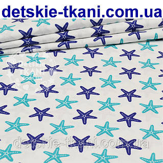 Бязь с морскими звёздами сине-бирюзового цвета (№217а)