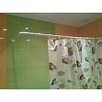Угловой карниз для шторы в ванну 90х90х90 см белый