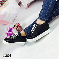 Женские ботинки на танкетке черные 1204